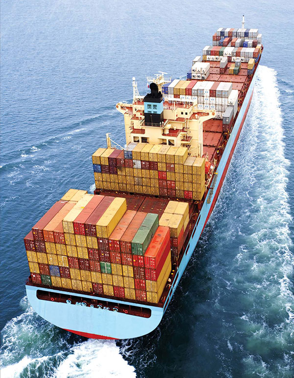 Container ship yellow